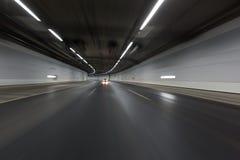 在隧道的光足迹 库存图片