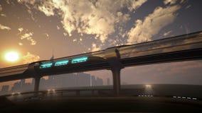 在隧道的单轨铁路车未来派火车 3d例证 向量例证