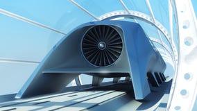 在隧道的单轨铁路车未来派火车 3d翻译 库存图片