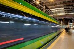 在隧道的新的电车线在波兹南,波兰 库存图片
