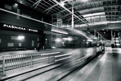 在隧道的新的电车线在波兹南,波兰 免版税库存图片
