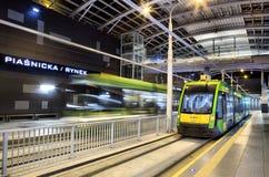 在隧道的新的电车线在波兹南,波兰 免版税库存照片