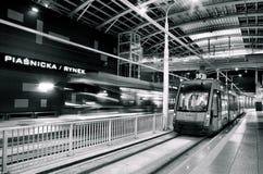 在隧道的新的电车线在波兹南,波兰 免版税图库摄影