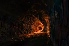 在隧道的火圈子 图库摄影