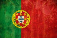 在难看的东西作用的葡萄牙旗子 库存照片