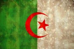 在难看的东西作用的阿尔及利亚旗子 库存图片
