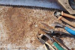 在难看的东西木头的工具整修 免版税库存图片