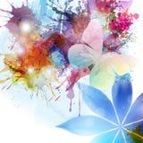 在难看的东西样式的抽象背景与花和蝴蝶 图库摄影
