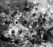 在难看的东西的被弄脏的菊花被传统化的花束,镶边动态背景,黑白设计 库存例证