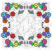 在难看的东西背景的抽象花卉框架 免版税库存图片