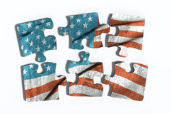 在难题集合的Americal旗子 库存图片