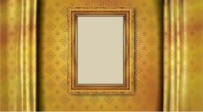 在雄鸭样式背景,葡萄酒照片框架古董,设计样式的泰国皇家金框架 免版税库存照片
