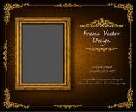 在雄鸭样式背景,葡萄酒照片框架古董,设计样式的泰国皇家金框架 免版税图库摄影