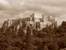 在雅典卫城,乌贼属口气的希腊的古希腊寺庙 免版税库存图片