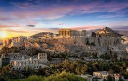 在雅典卫城,希腊的帕台农神庙寺庙 免版税库存图片
