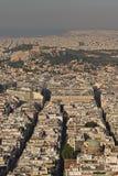在雅典的看法从Lycabettus小山,希腊的日落时间的 免版税库存照片