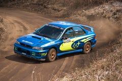 在集会展示期间的Subaru Impreza 库存照片