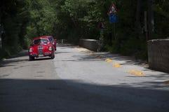 在集会Mille Miglia 2015的菲亚特1100 S BERLINETTA ` GOBBONE ` 1947老赛车在Ma的著名意大利历史种族1927-1957 库存照片