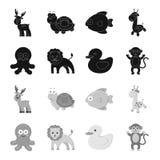 在集合汇集的一个不切实际的黑,单色动物象的设计 玩具动物传染媒介标志股票网 免版税库存照片