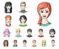 在集合汇集的具体化和面孔动画片象的设计 人` s出现传染媒介标志股票网例证 库存例证