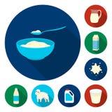 在集合汇集的奶制品平的象的设计 牛奶和食物导航标志图片