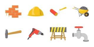在集合汇集的房屋修复象的设计 建筑材料和工具导航标志储蓄网例证 皇族释放例证
