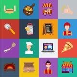在集合汇集的薄饼和比萨店动画片象的设计 职员和设备导航标志储蓄网例证 库存例证