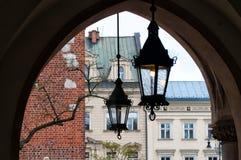 在集市广场的光在克拉科夫,波兰 库存照片