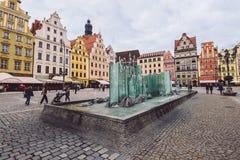 在集市广场的弗罗茨瓦夫喷泉 免版税图库摄影