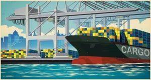 在集装箱船减速火箭的海报的装货容器 库存图片