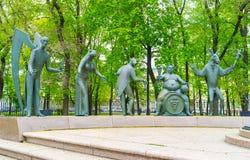 在雕塑描述的现代恶习 免版税库存照片