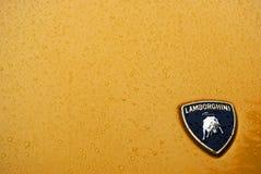 在雨下的Lamborghini与水下落 免版税库存图片