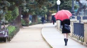在雨之下的走的女孩 库存照片