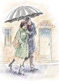 在雨之下 免版税图库摄影