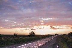 在雨以后的横向 离开入距离的路在日落 库存图片