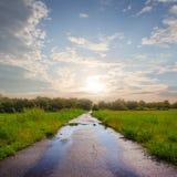 在雨以后的湿柏油路 库存照片