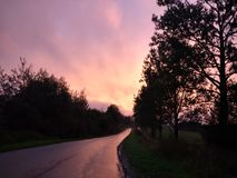 在雨以后的路在阳光下 免版税库存照片