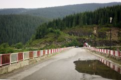 在雨以后的Transalpina,在桥梁的水坑 库存照片
