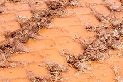 在雨以后转动在路、水坑和泥的踪影 在拖拉机,挖掘机,汽车,在泥泞的足迹的汽车轮胎轨道土壤的踪影  库存图片