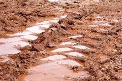 在雨以后转动在路、水坑和泥的踪影 在拖拉机,挖掘机,汽车,在泥泞的足迹的汽车轮胎轨道土壤的踪影  图库摄影