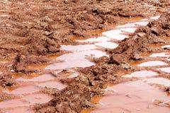 在雨以后转动在路、水坑和泥的踪影 在拖拉机,挖掘机,汽车,在泥泞的足迹的汽车轮胎轨道土壤的踪影  免版税库存照片