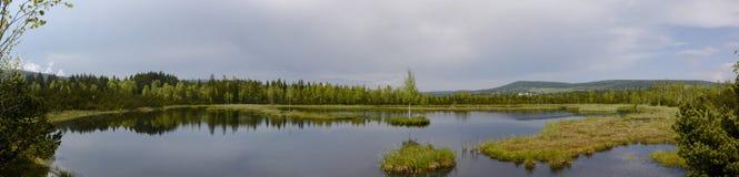 在雨全景前的Chalupska板条 库存照片