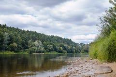在雨前的Neman河 库存图片