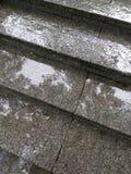 在雨天期间,在花岗岩步的雨珠室外楼梯 库存图片