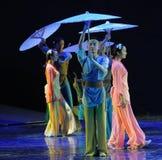 在雨这舞蹈戏曲的场面神鹰英雄的传奇 库存图片