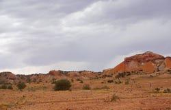 在雨风暴期间的彩绘沙漠 免版税库存图片