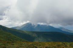 在雨,与灰色天空的绿色风景前的山 库存照片