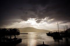在雨以后的阳光,蒂瓦特,黑山 免版税库存图片