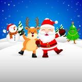 在雪、圣诞老人、雪人, Xmas树和驯鹿的滑稽的圣诞节字符设计 免版税库存照片