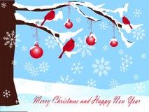 在雪、球和红色主要背景的圣诞树在蓝色、圣诞快乐和新年快乐 免版税图库摄影